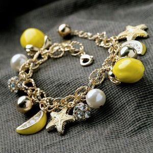 Gold Plated Crystal Lemon Pendant Charm Bracelet